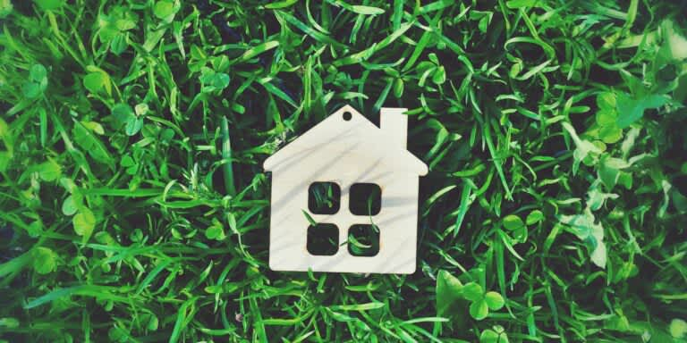 Wooden House keyring lying on grass